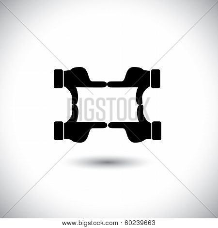 People Hands Together Forming Shape - Teamwork Vector Concept