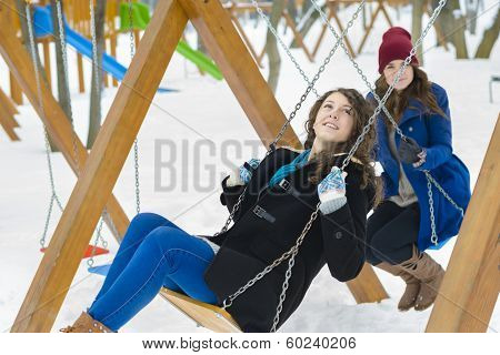 Friends Swinging