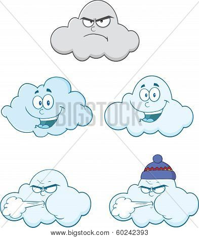 Happy And Angry Clouds Cartoon Characters. Set Collection