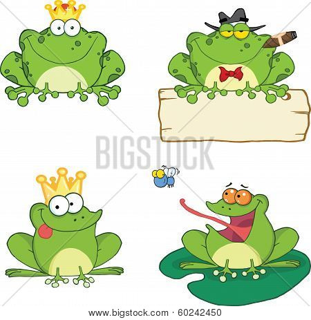 Happy Frogs Cartoon Characters. Set Collection