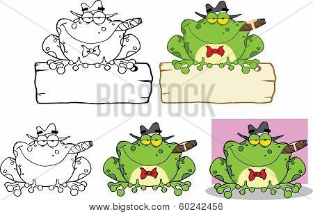 Mobster Frog Over A Sign Cartoon Character. Set Collection