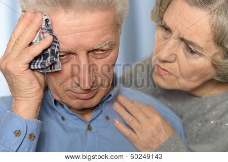 Ill senior couple