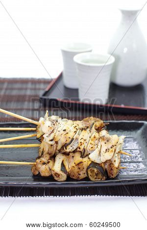 Delicious chicken satay , Yakitori Japanese food
