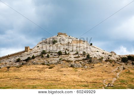 Genoese Fortress In Sudak. Evening View.