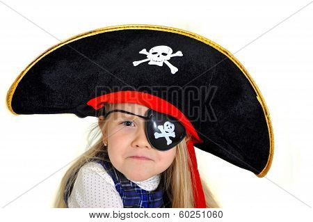 Cute Little  Blonde Girl In Pirate Hat And Eyepatch Playing