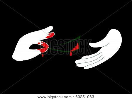 vector Hand giving money to other hand bribe corruption
