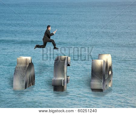 Jumping On Money Symbol Over Water