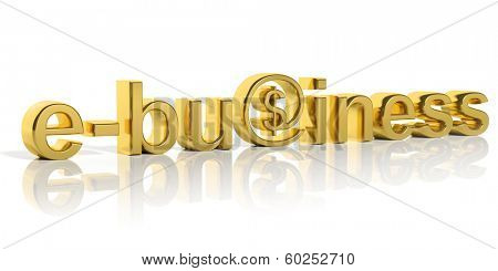 3D gold e-business text with web symbol isolated