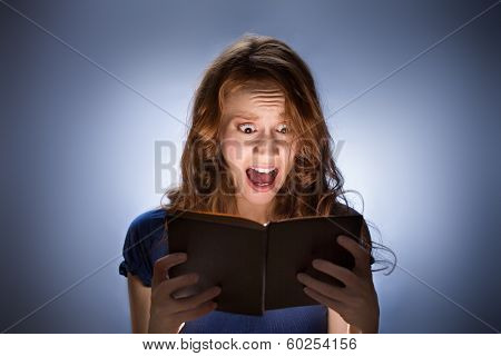 Woman Reading Horror Book Nad Screaming