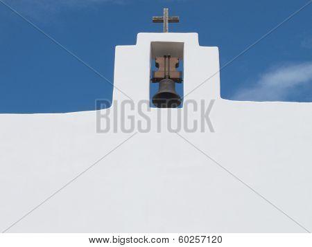 Bell And Cross In Sant Francesc Church Formentera Spain