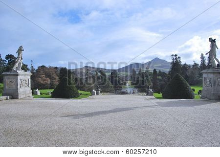 Path to Powerscourt Lake and fountain