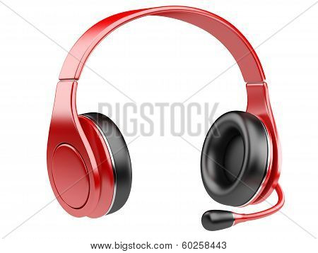 Red Modern Headphones With Microphone