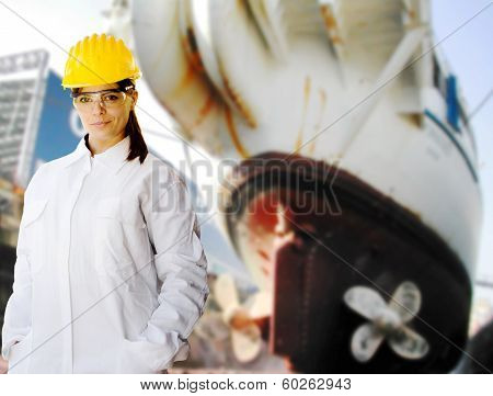 Female Naval Worker At Shipyard