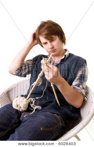 Man Knitting Art Craft
