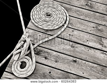 nautical rope tied to cleat