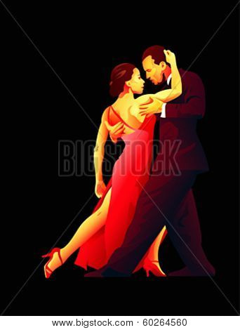 Dance pair in tango passion isolated over black