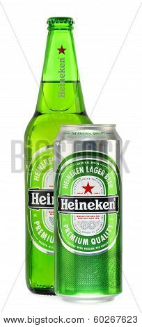 Bottle And Can Of Heineken Beer Isolated On White