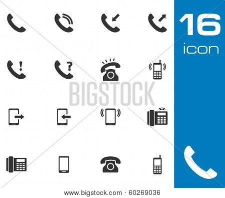 Vector black telephone icons set