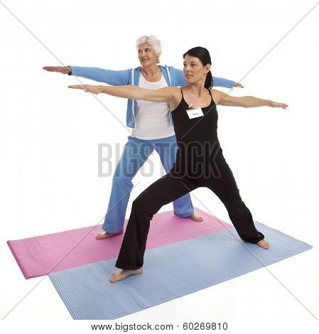Female yoga instructor teaching