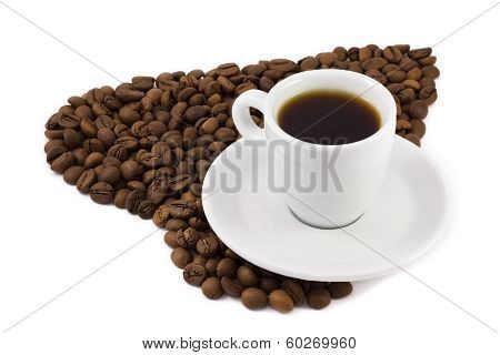 Black Coffee Beans As A Heart And Cup