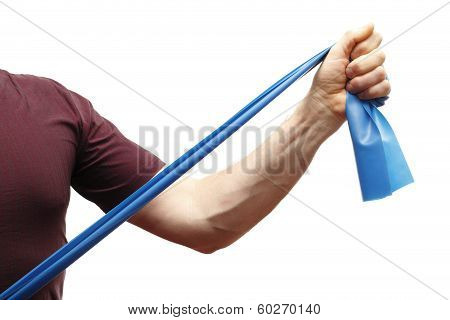 man is stretching