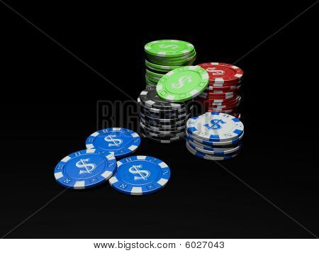 3D poker chips on black background
