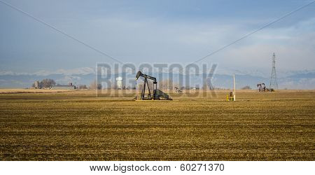 Oils Wells In Colorado Farm Country