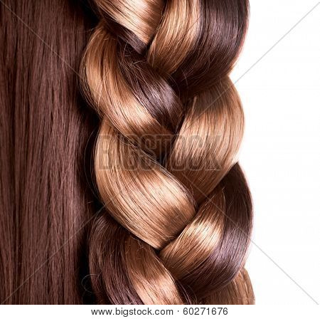 Braid Hairstyle. Brown Long Hair close up. Healthy Hair border isolated on a white background