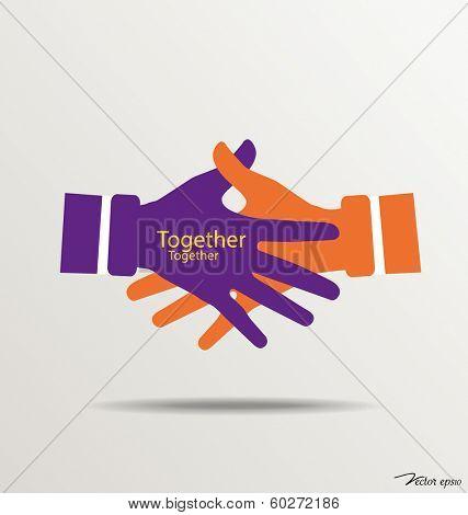 Handshake, Teamwork Hands Logo. Vector illustration.