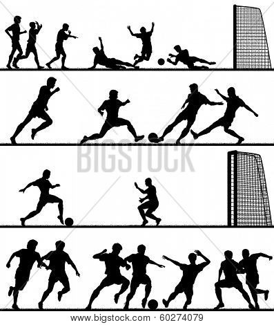 Set of editable vector foreground silhouettes of men playing football with all figures as separate objects