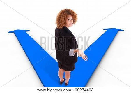 African American Business Woman Hesitating Between Two Ways Indicated By Arrows