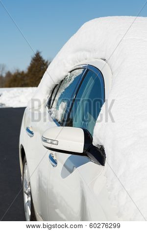 Deep Snow On Top Of White Car In Drive