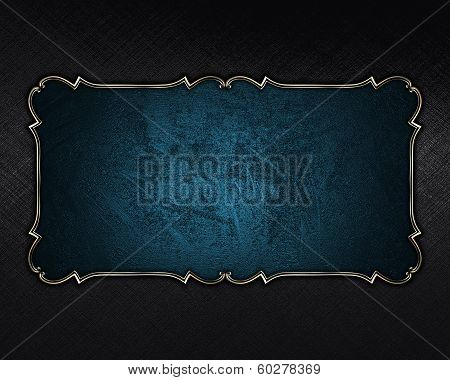 Black Background With Blue Nameplate With Gold Trim