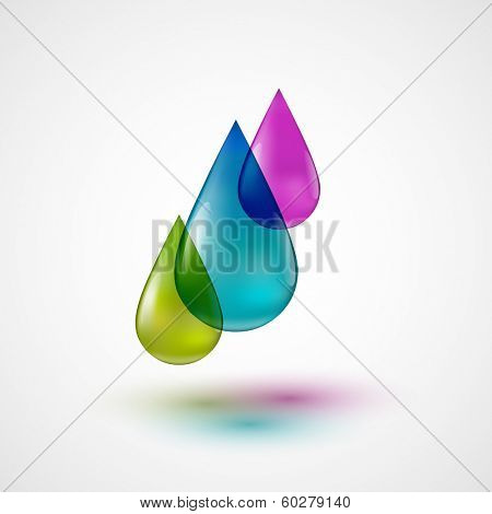 Drops of colored ink, eps10 vector