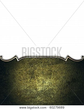 Dark Nameplate With Gold Ornate Edges, Isolated On White Background