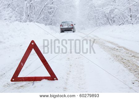 Emergency Stop Car On Winter Road In The Countryside