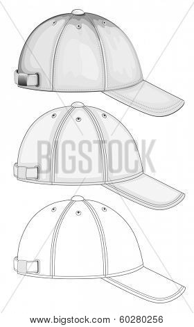 Vector illustration of baseball cap ( different variants, side view). No mesh. Color redact easy.