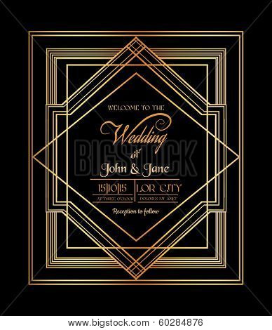 Wedding Invitation Card - Art Deco & Gatsby Style - save the date - in vector