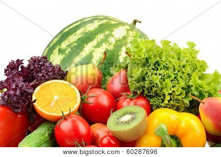 fruits and vegetables isolated on a white background