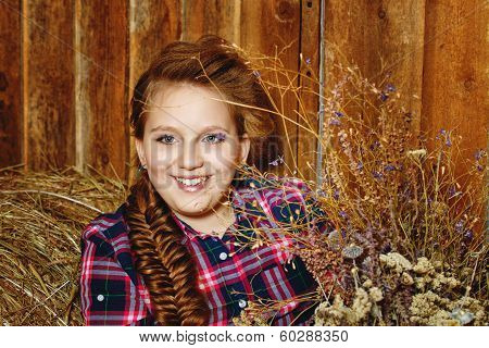 Girl In Rustic Barn