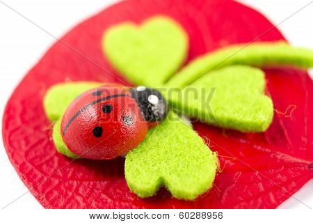 Ladybird On Green Quarterfoil