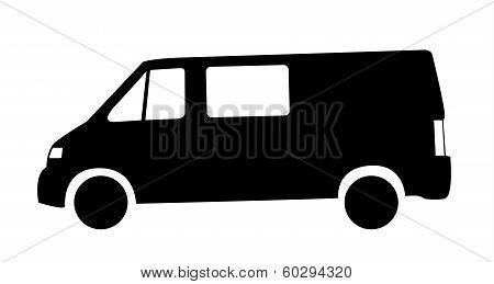 Silhouette Of Van Car