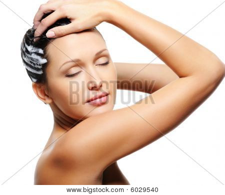 Woman Washing Her Head With Shampoo