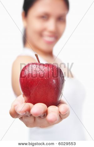 Healthy Woman Offering Red Apple