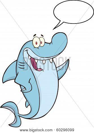 Happy Shark Cartoon Character Waving With Speech Bubble