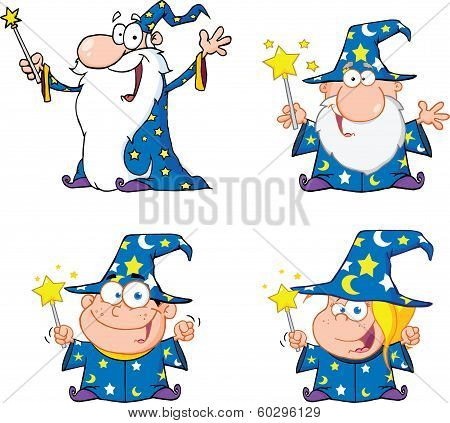Happy Wizards Cartoon Characters. Set Collection