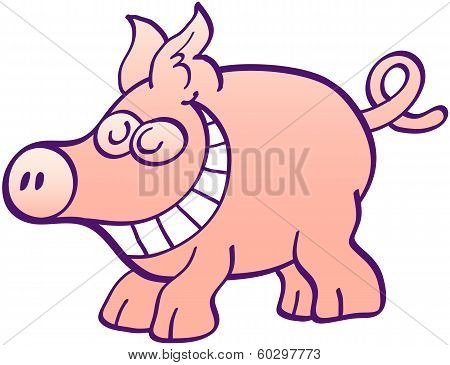 Funny piggy grinning and having fun