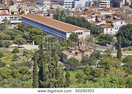 ancient stoa and medieval church under Acropolis Athens Greece