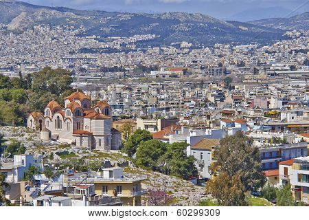 old orthodox church and Athens cityscape Greece