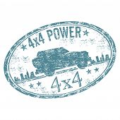 picture of four-wheel  - Blue grunge rubber stamp with a four wheeled vehicle - JPG